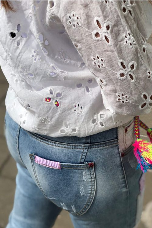 Rosa patchwork jeans Cabana Living - DY 660 jeans rose patch
