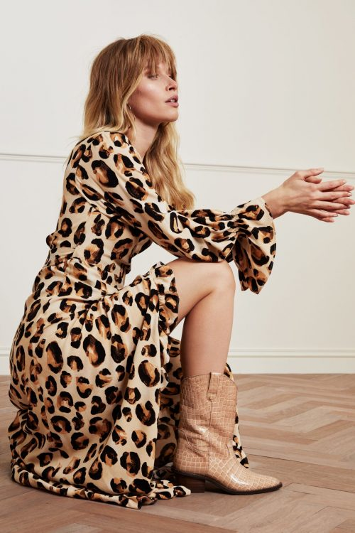 Leopard viskose lang omslagskjole Fabienne Chapot - tash dress