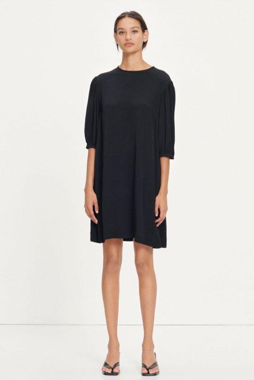 Dusty blue eller sort enkel viskose kjole Samsøe - 12949 aram ss dress