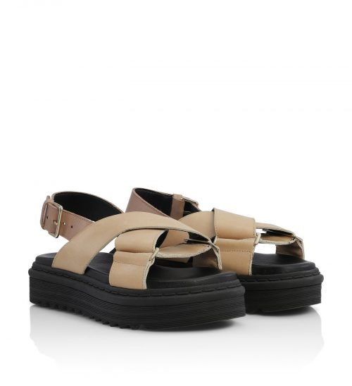 Light camel tøff sandal med høy såle og slingback Shoe Biz - sila