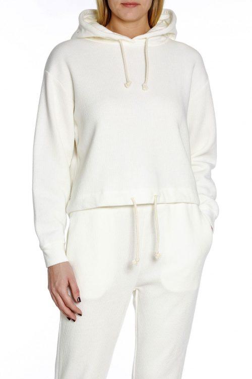 Ecru myk cordstripet hoodie American Vintage - pab03a