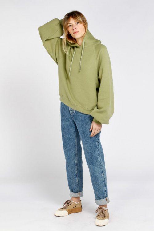 Olivengrønn eller taupe-rosa bomullsmix hoodie American Vintage - ika03a