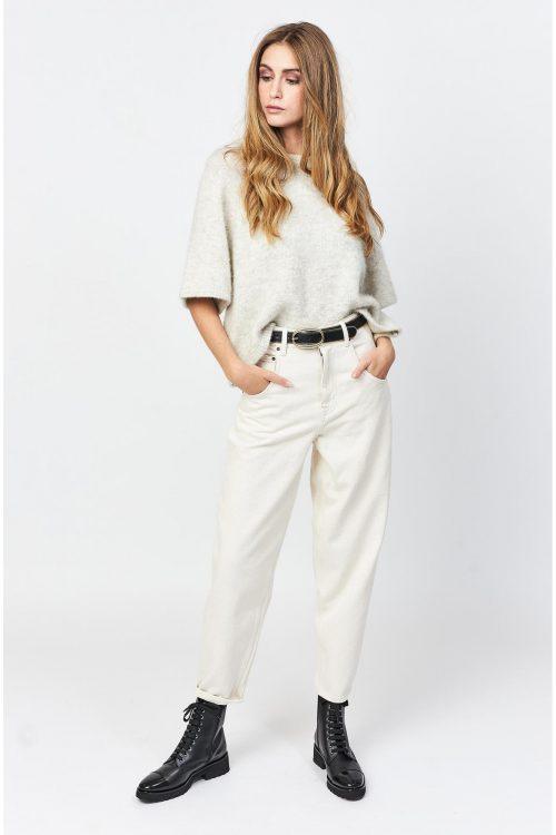 Sort, lys gråbeige eller bringebær trendy alpakkamix genser med 3/4 erm American Vintage - east18d