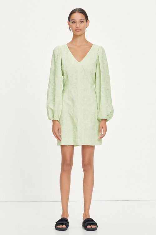 Mint eller hvit brodert kjole med puffskuldre Samsøe - 13089 anai dress