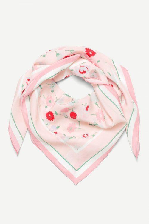 Pink garden lang silke skjerf Samsøe - 9394 hailan scarf aop Mål: 88*88cm