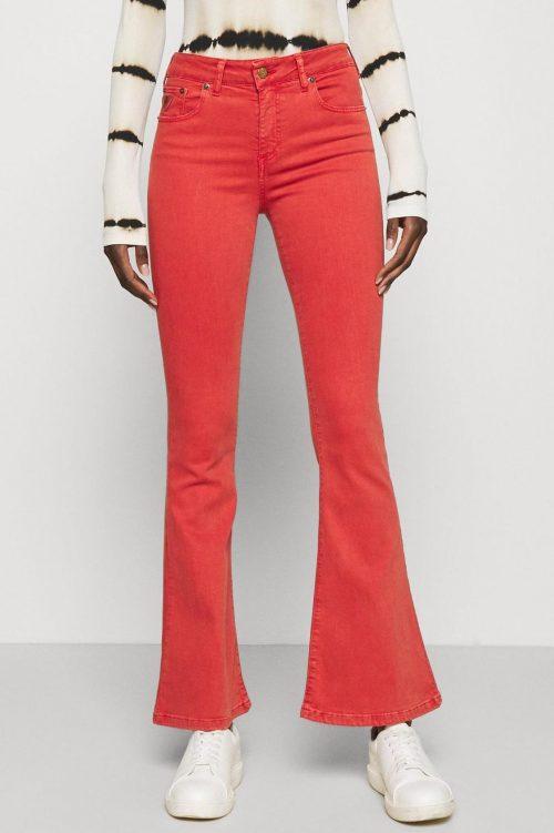 Cayenne-rød (orangerød) eller navy bomull flare bukse Lois Jeans - 2007-6477 Megalia Summertime Raval L30/L32/L34