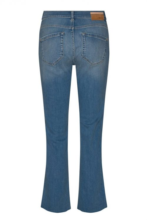 Flare cropped jeans med ton i ton broderi ved lomme Mos Mosh - 138860 Ashley Braid Jeans