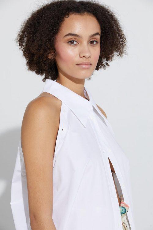 Hvit 100% bomull skjorte med avtagbar (helt eller delvis) ermer Ilag - spannslokket big shirt