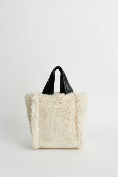 Pea green eller offwhite fuskepels liten veske Stand Studio - 61472-9450 lucille bag wool fur