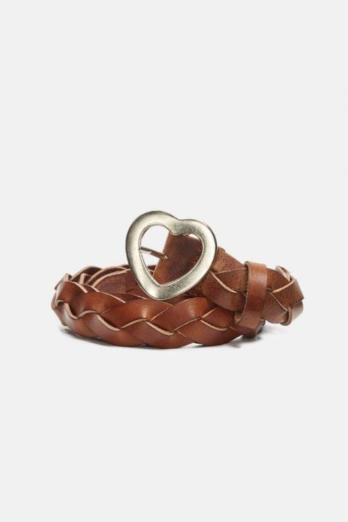 Cognac eller sort flettebelte med hjerte-spenne Fabienne Chapot - braidy heart belt