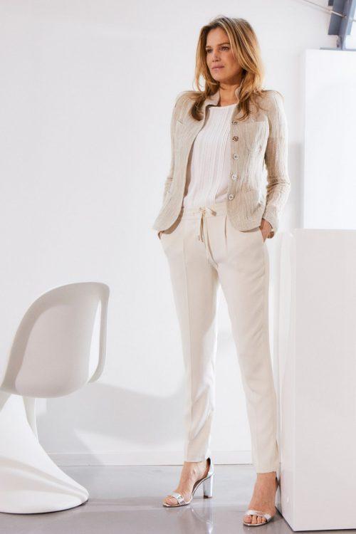 Ivory eller sort super stretch cozy knit look bukse med snøring og strikk i liv Cambio - 6207 0216-03 josie 28