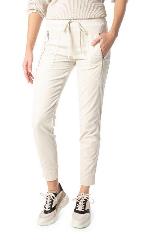 Isgrå (her vist i ecru farge) velour sporty bukse med glidelås Cambio - 7505 0250-01 jordan 29