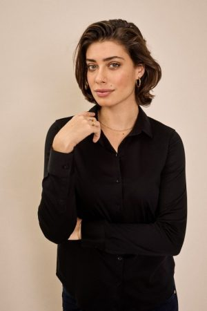 Sort stretchy jerseyskjorte Mos Mosh - 131660 tina jersey shirt