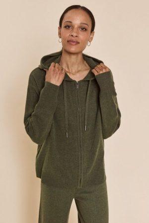 Grønn 100% ull strikket hoodie Mos Mosh - 139730 robyn hooded knit cardigan Grønn 100% ull vid strikket bukse Mos Mosh - 139720 cilla knit pant