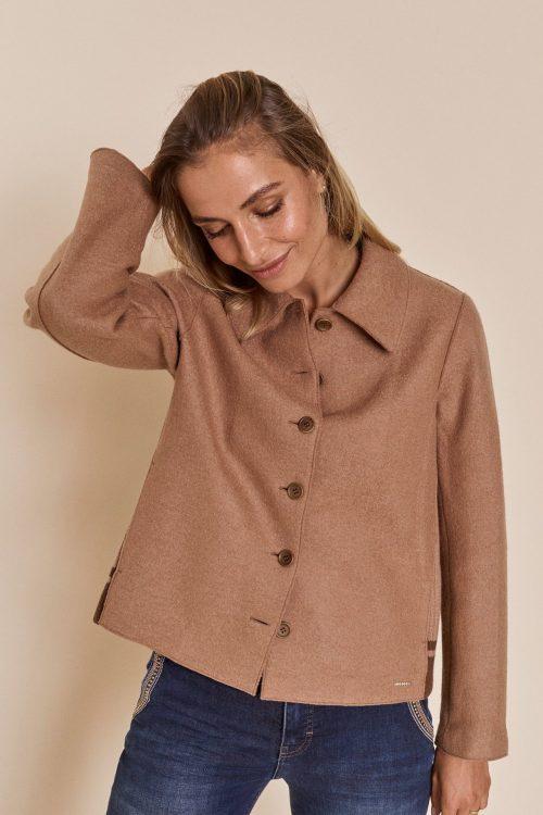 Camel kort ulljakke med strikket felt i sidene Mos Mosh - 139790 bina wool jacket