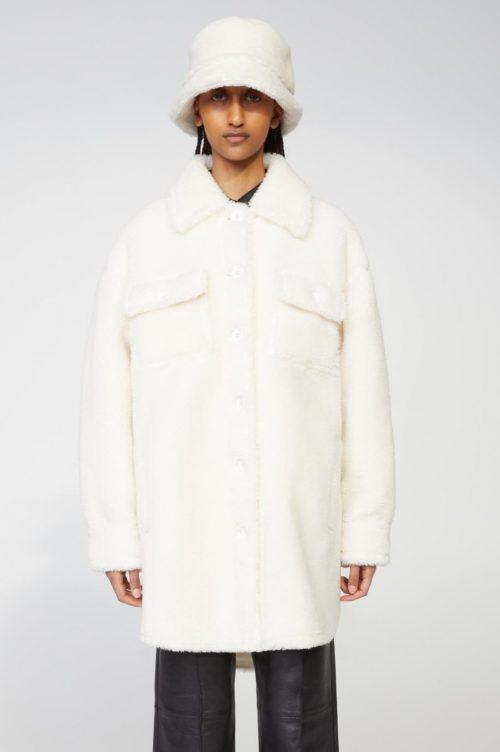 Dark coral, pea green eller hvit teddy storskjorte-ytterjakke med lommer Stand Studio - 61179-9040 sabi jacket faux fur teddy