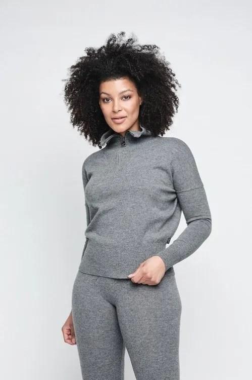 Grønn (ikke grå) strikket cashmere/merino kortere genser med glidelås Ella&Il - ellen wool sweater
