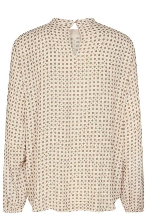 Krem med prikker kreppet viskose med rund hals og ballongerm Mos Mosh - 140020 fina tilia blouse