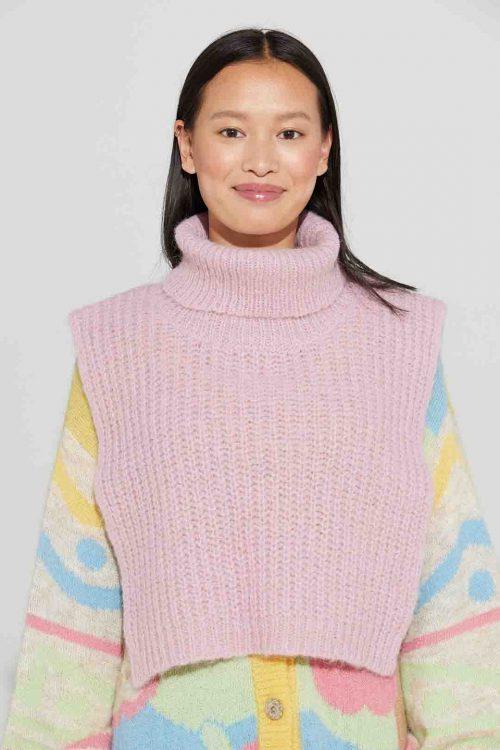Light grey, soft pink, koks, blue, eplegrønn og multicolor alpakka ribbet hals Ilag - aspond neckwarmer