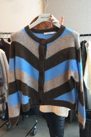 Kornblåbrunbeige alpakkamiks stripet cardigan med ballongerm Gestuz - alpha m cardigan