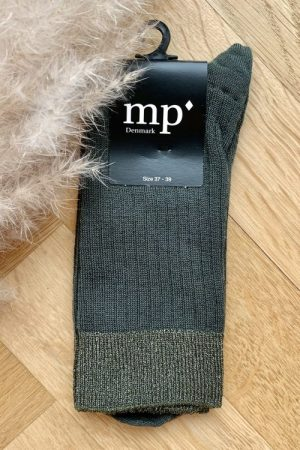 Grønn ribbet ullmix sokk MP Denmark - 59532-27 Erin 77% superwash uld, 3% lurex, 17% polyamid, 3% elastan