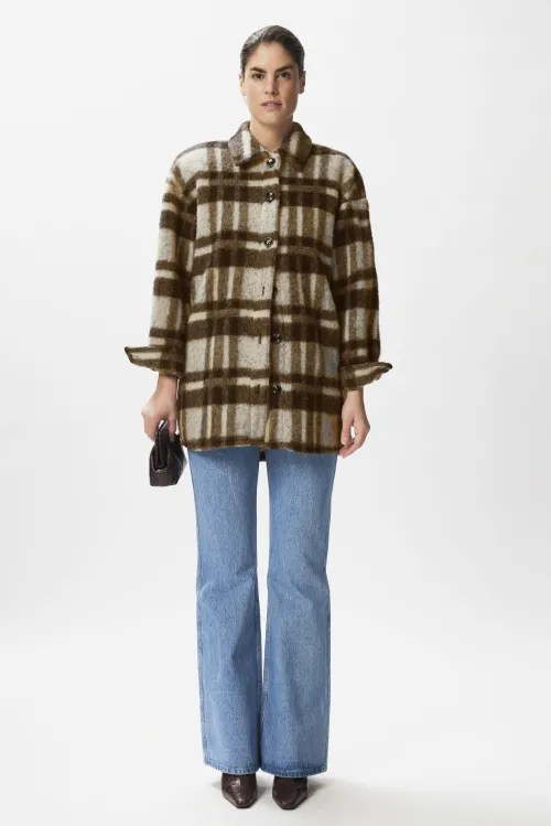 Coffe been/offwhite ull/mohair rutet ytterjakke Gestuz - rina shirt