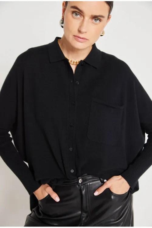 Sort, mosegrønnmelert eller taupemelert 100% mongolsk cashmere vid skjortecardigan Notshy - andrea cashmere shirt