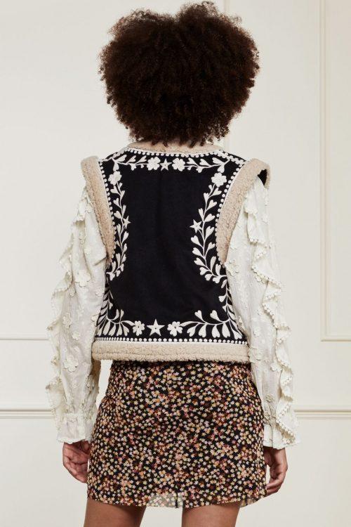 Krem/sort mønstret vest Fabienne Chapot - james gilet