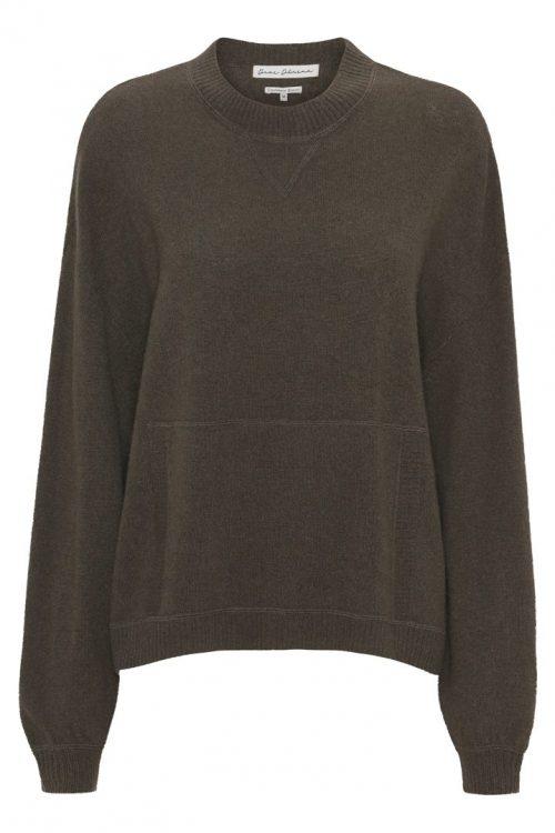 Hunter green cashmere/ull boxy genser med lommefront Dear Dharma - jodi