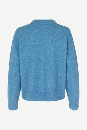 Lichen blue melange alpakka genser Samsøe - 7355 anour