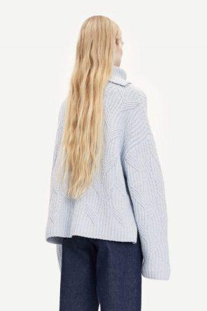 Gray dawn isblå flettestrikket ullmix pologenser Samsøe - 11250 kei t-neck
