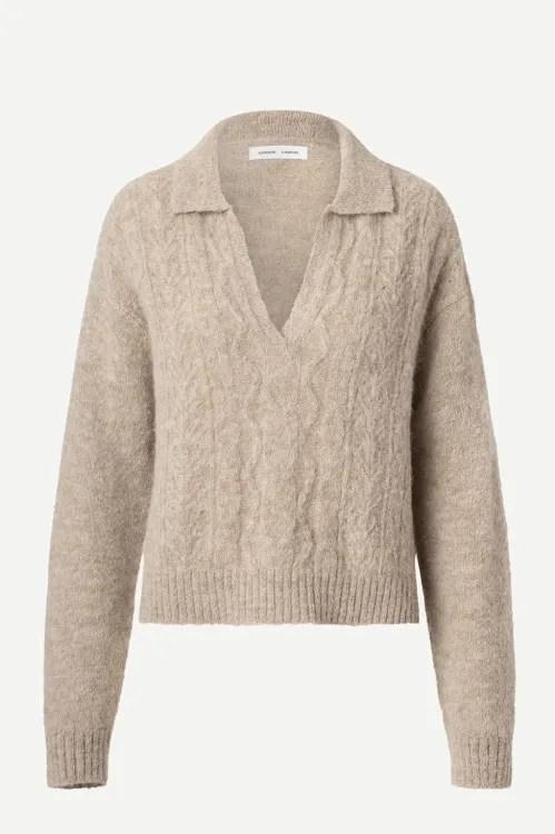 Beigemelert alpakkamiks flettestrikket skjortegenser Samsøe - 12755 neta v-neck polo