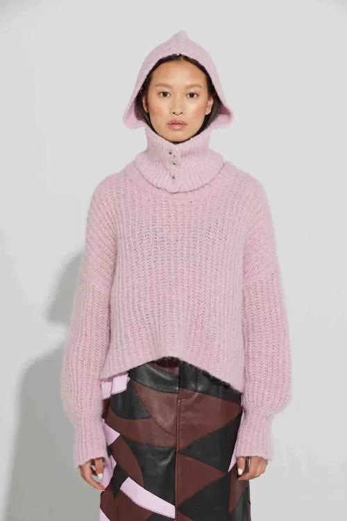 Light grey eller soft pink alpakka ribbet kort genser med nedsunkne skuldre Ilag - Askholmene