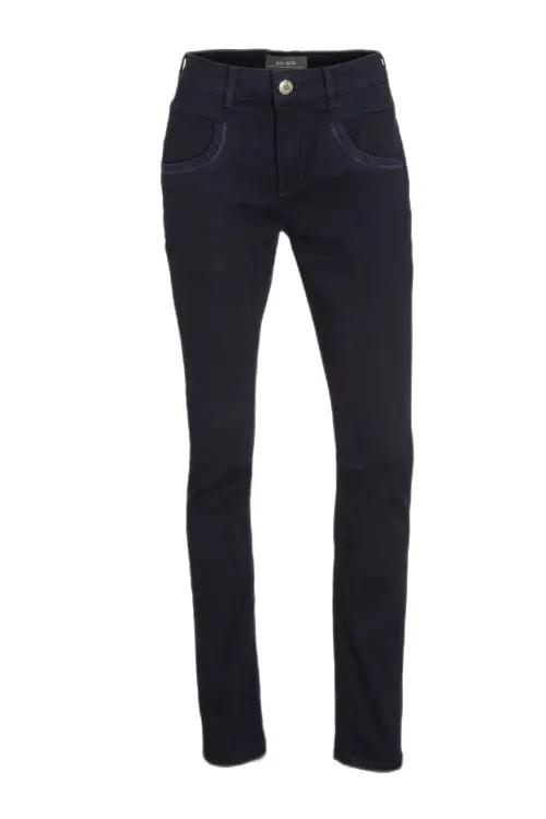 Dark navy bukse med ton i ton stikninger ved lomme Mos Mosh - 140661 naomi deep blue