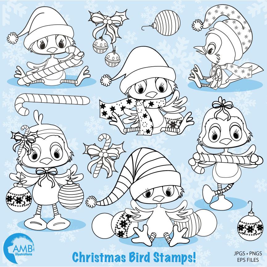 christmas digital stamps bird