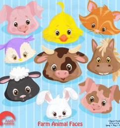 farm animal faces clipart commercial use vector graphics digital clip art digital [ 1500 x 1500 Pixel ]