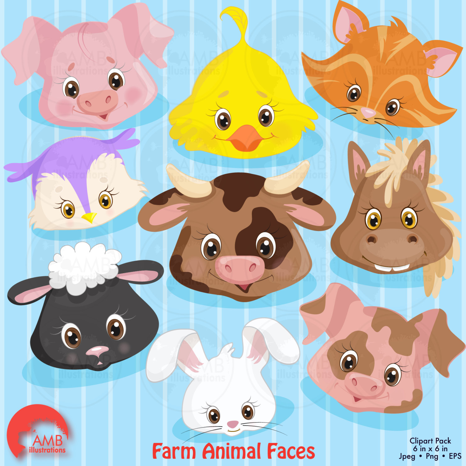 hight resolution of farm animal faces clipart commercial use vector graphics digital clip art digital
