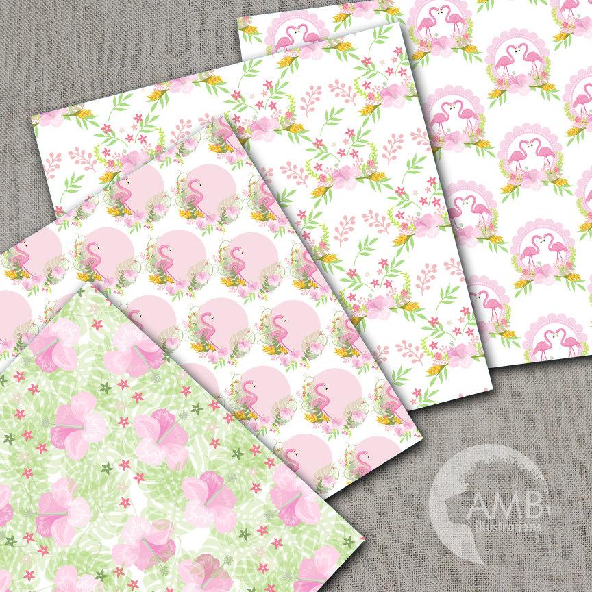 flamingo digital papers tropical