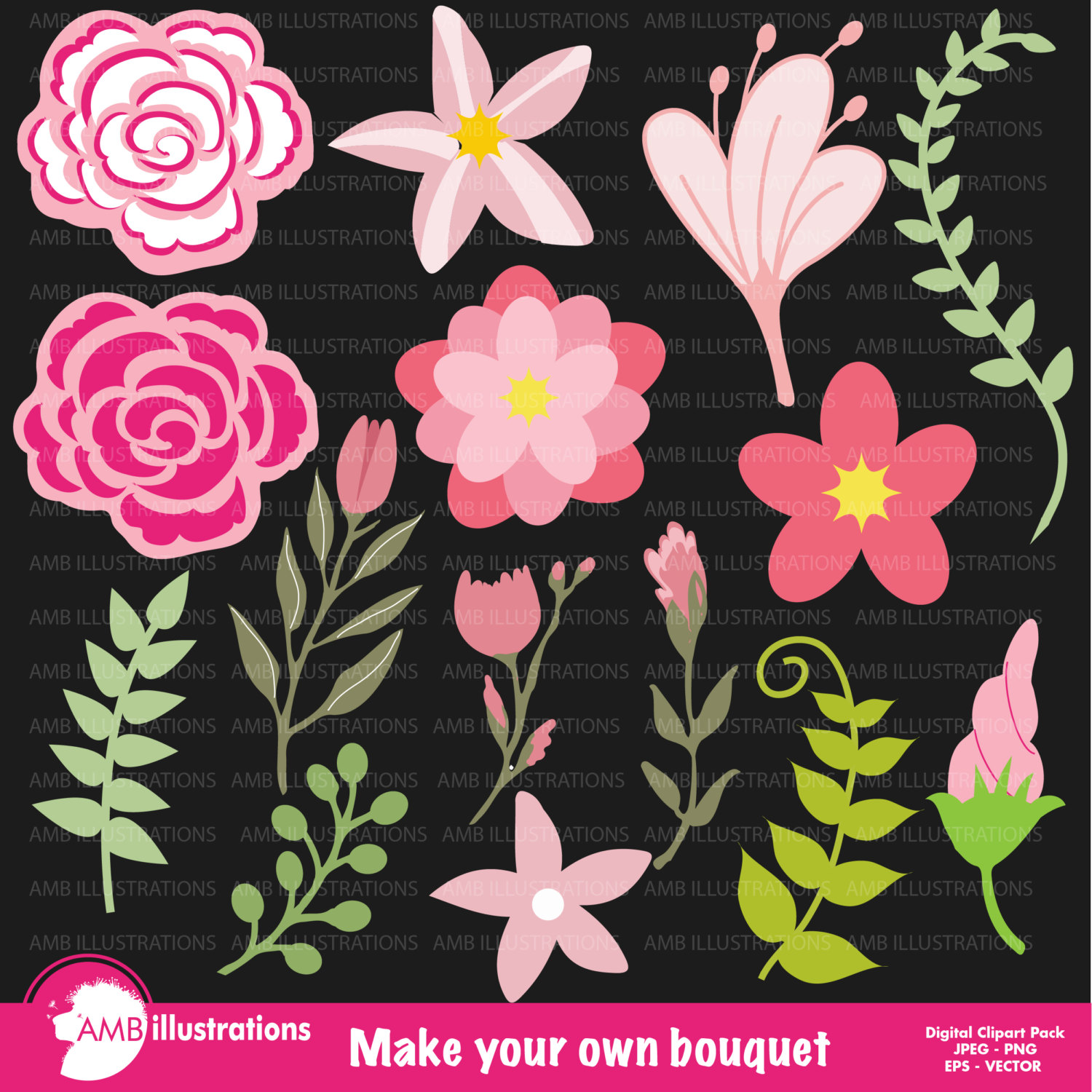 hight resolution of flowers for bouquet bridal shower clipart wedding clipart commercial use digital clip