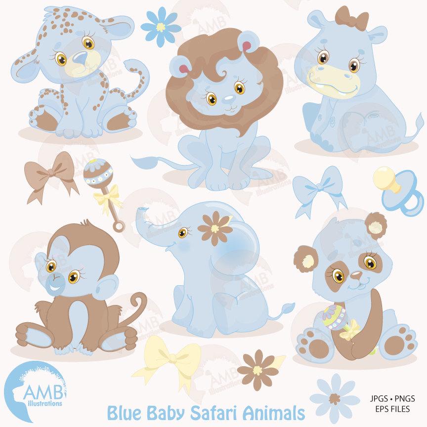 Jungle Animals clipart, Jungle animal babies clipart, Blue
