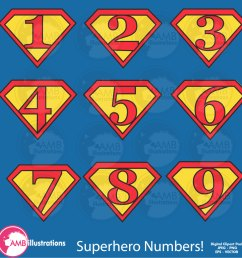 superhero numbers clipart superhero number symbols commercial use digital clipart instant download [ 1500 x 1500 Pixel ]