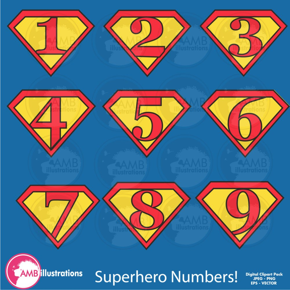 medium resolution of superhero numbers clipart superhero number symbols commercial use digital clipart instant download
