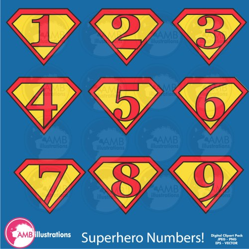 small resolution of superhero numbers clipart superhero number symbols commercial use digital clipart instant download