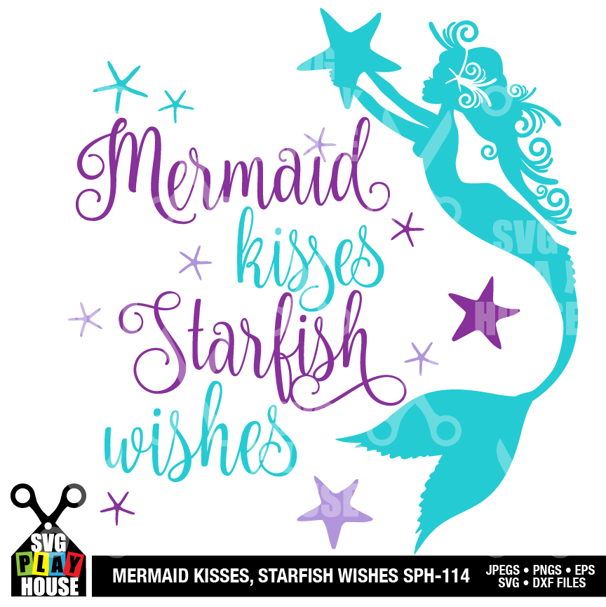 Download Mermaid kisses, SVG file, Mermaid SVG | AMBillustrations.com