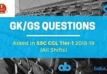 GK_GS QUESTIONS asked in ssc cgl 2018-19 exams