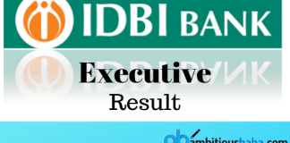 IDBI Executive result 2019