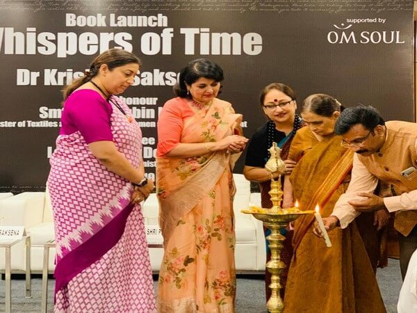 Smriti Irani launches author Dr Krishna Saksena's fiction 'Whispers of Time'