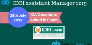 GA Ques asked in IDBI ASM 2019