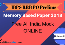 RRB PO PRE MEmory BAsed Paper 2018