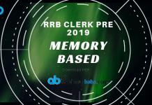 RRB CLERK PRELIMS Memory Based Paper 2019
